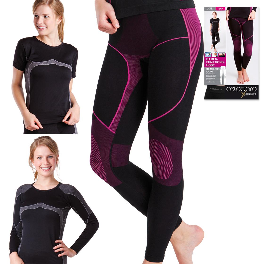 bf0177e9fb8c40 Details zu Damen Seamless Thermo Funktionswäsche Hose Ski Unterhose Pink /  Grau S M L XL