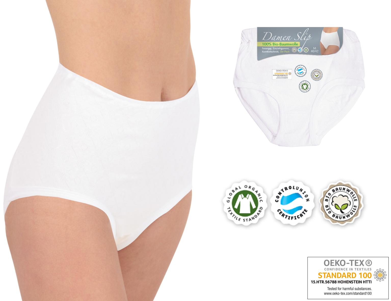 78a4976e55d5fb 6er Pack Damen Taillen-Slip Damenslips 100% Bio-Baumwolle - Übergrößen