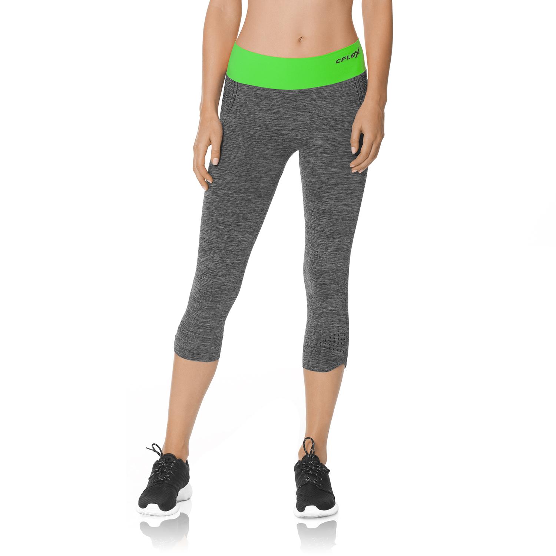 Damen CFLEX Sport Leggings Pants Capri 3/4 stretch bequem hoher Bund S M L XL