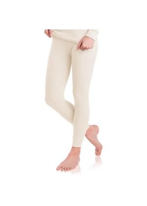 MT Damen Ski- & Thermohose - warme Unterwäsche lang mit Innenfleece - Ecru