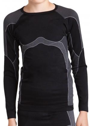 Gomati Langes Kinder Funktions-Hemd Seamless schwarz/grau