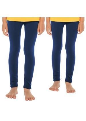 Celodoro Kinder Thermo Leggings (2 Stück) - warme Unterhose lang mit Innenfleece - Blau