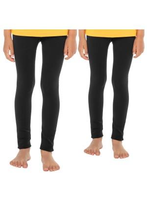 Celodoro Kinder Thermo Leggings (2 Stück) - warme Unterhose lang mit Innenfleece - Schwarz