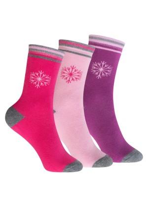 Footstar Kinder Frottee-Socken mit Motiv (3 Paar), Warme Socken mit Thermoeffekt - Schneeflocke