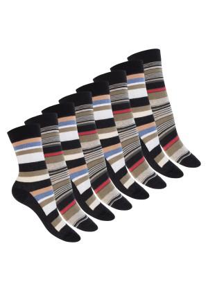 Celodoro Damen Socken (8 Paar) Bunte Ringelmuster mit Komfortbund - Schwarz Multicolor