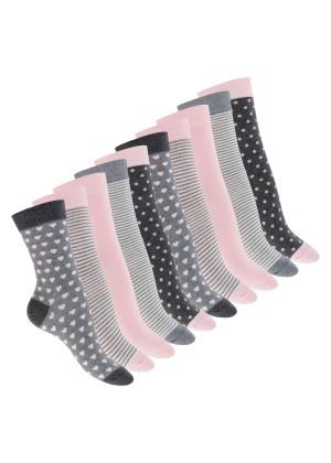 Celodoro Damen Motiv Socken (10 Paar), süße Söckchen aus Baumwolle - Pastell Mix
