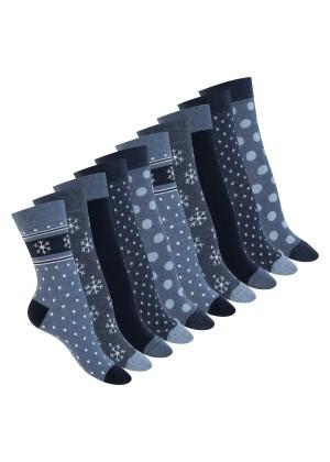 Celodoro Damen Motiv Socken (10 Paar), süße Söckchen aus Baumwolle - Navy Blue