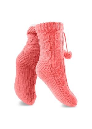 1 Paar gefütterte Damen Kuschel-Strick-Socken Koralle