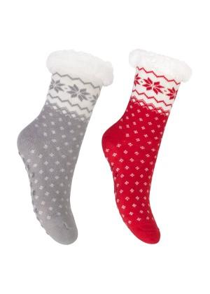 Footstar Damen und Herren Winter Haussocken (2 Paar) Kuschelsocken - Grau-Rot