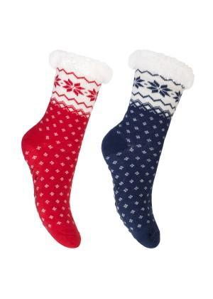 Footstar Damen und Herren Winter Haussocken (2 Paar) Kuschelsocken - Rot-Blau