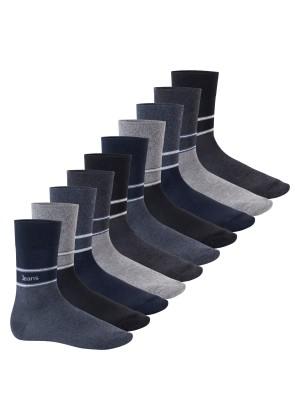 Footstar Herren Motiv Socken (10 Paar), Baumwoll Socken mit Mustern - Navy Melange