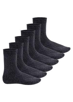 Footstar Herren Winter Wollsocken (6 Paar) Norweger Socken mit Frottee Plüschsohle - Grau-Melange