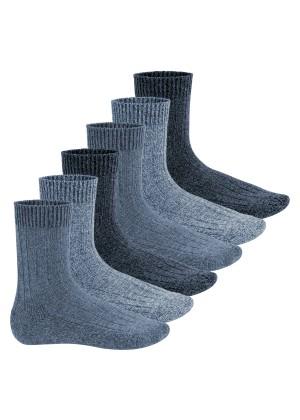 Footstar Herren Winter Wollsocken (6 Paar) Norweger Socken mit Frottee Plüschsohle - Blautöne