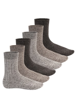 Footstar Herren Winter Wollsocken (6 Paar) Norweger Socken mit Frottee Plüschsohle - Brauntöne