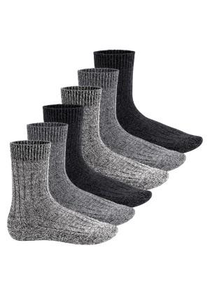 Footstar Herren Winter Wollsocken (6 Paar) Norweger Socken mit Frottee Plüschsohle - Schwarz Mix