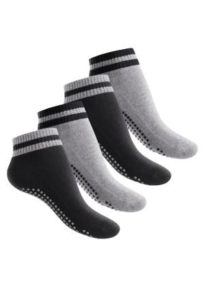 Celodoro Damen und Herren Yoga & Wellness Socken (4 Paar), ABS Söckchen mit Frottee-Sohle - Variante 2