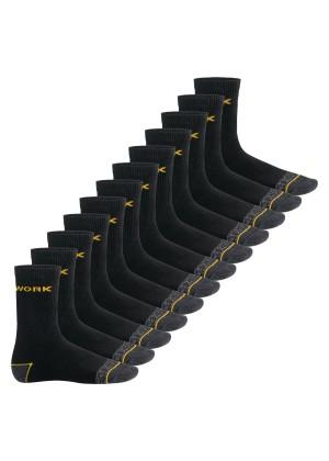 MT Herren Arbeits- und Freizeitsocken (12 Paar), Robuste Work Socken - Schwarz-Gelb