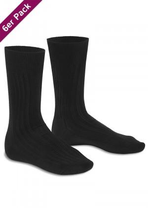 6 Paar Herren Socken mit Frotteesohle Schwarz