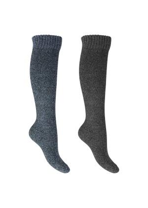 Footstar Herren Kniestrümpfe (2 Paar) Thermo-Effekt - Blau-Grau