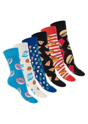Footstar Damen & Herren Bunte Motiv Socken (6 Paar), Lustige Baumwoll Socken - Sweetfood