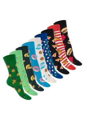 Footstar Damen & Herren Bunte Motiv Socken (9 Paar), Lustige Baumwoll Socken - Food