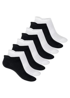 Footstar Herren & Damen Funktions Sneaker Socken (8 Paar), Gepolsterte Sportsocken – Schwarz-Weiß