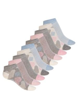 Celodoro Damen Süße Eco Sneaker Socken (10 Paar), Kurzsocken aus regenerativer Baumwolle - Pink Carnation