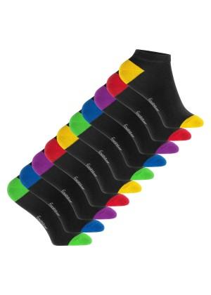 Footstar Kinder Baumwoll Sneaker Socken (10 Paar) mit abgesetzter Ferse und Spitze - Funfarben