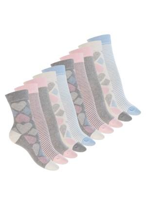 Celodoro Damen Süße Eco Socken (10 Paar), Motiv Socken aus regenerativer Baumwolle - Pink Carnation