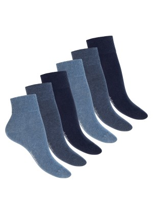 Footstar Damen & Herren Gesundheits Kurzschaft Socken (6 Paar), Nahtfreie Diabetiker Kurzsocken - Blau
