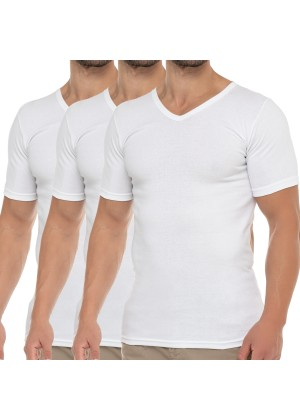 Celodoro Herren Business T-Shirt V-Neck (3er Pack) - Weiß