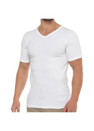 Celodoro Herren Business T-Shirt V-Neck (1 Stück) - Weiß
