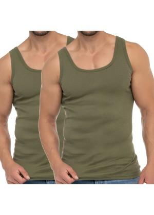 Celodoro Herren Business Tank Top (2er Pack), Achselhemd aus Baumwolle - Olive