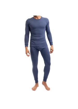MT Herren Ski- & Thermowäsche Set - warme Unterwäsche langarm mit Innenfleece - Blau