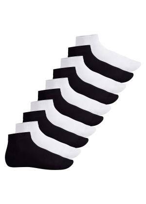 Footstar Herren & Damen Kurzschaft Socken (10 Paar) - Sneak it! - Schwarz-Weiß-Mix