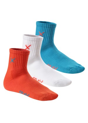 6 Paar CFLEX LIFESTYLE Unisex Short Crew Socks Blue Coral Mix