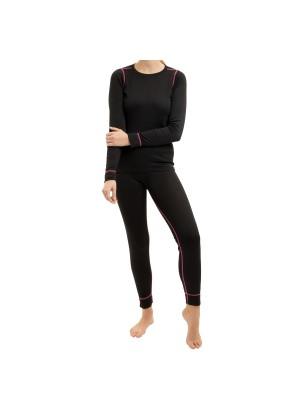 CFLEX Damen Ski- & Thermowäsche Set - warme Unterwäsche langarm POLARDRY - Schwarz-Pink