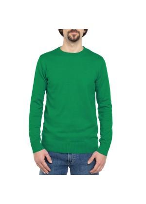 Celodoro Herren Rundhals Pullover, Baumwollstrick, Regular Fit - Fern Green