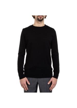 Celodoro Herren Rundhals Pullover, Baumwollstrick, Regular Fit - Black
