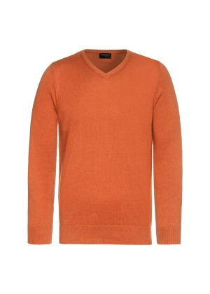 Celodoro Herren V-Neck Pullover, Longsleeve aus Baumwolle, Regular Fit - Burnt Orange