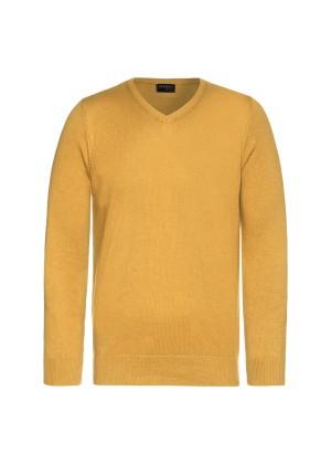 Celodoro Herren V-Neck Pullover, Longsleeve aus Baumwolle, Regular Fit - Curry