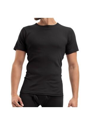 Celodoro Herren Feinripp Unterwäsche T-Shirt (Hemd), kurzarm aus Baumwolle - Schwarz