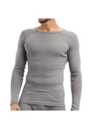 Celodoro Herren Feinripp Unterwäsche Shirt (Hemd), langarm aus Baumwolle - Grau