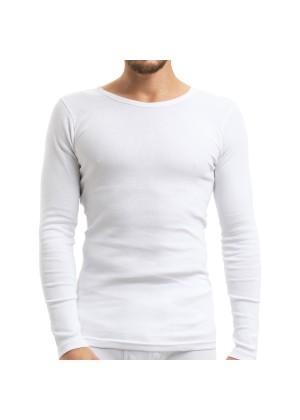 Celodoro Herren Feinripp Unterwäsche Shirt (Hemd), langarm aus Baumwolle - Weiss