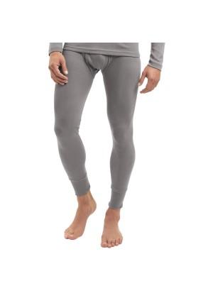 Celodoro Herren Feinripp lange Unterhose mit Eingriff aus Baumwolle - Grau
