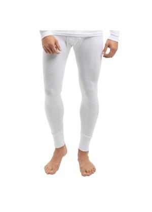 Celodoro Herren Feinripp lange Unterhose mit Eingriff aus Baumwolle - Weiss