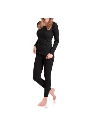 MT Damen Ski- & Thermowäsche Set - warme Unterwäsche langarm mit Innenfleece - Schwarz