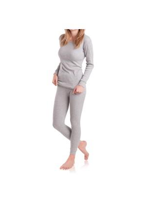 MT Damen Ski- & Thermowäsche Set - warme Unterwäsche langarm mit Innenfleece - Sports Grey