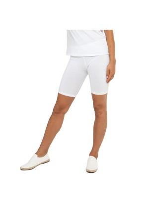 Celodoro Damen Kurzleggings (1 Stück), Stretch-Jersey Radlerhose aus Baumwolle - Weiß