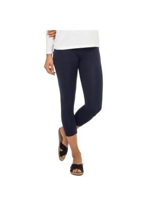 Celodoro Damen Leggings (3/4 Capri), Stretch-Jersey Hose aus Baumwolle - Dunkelblau